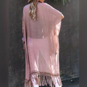 Fringe Kimono Beach Cover up Mauve / Pink